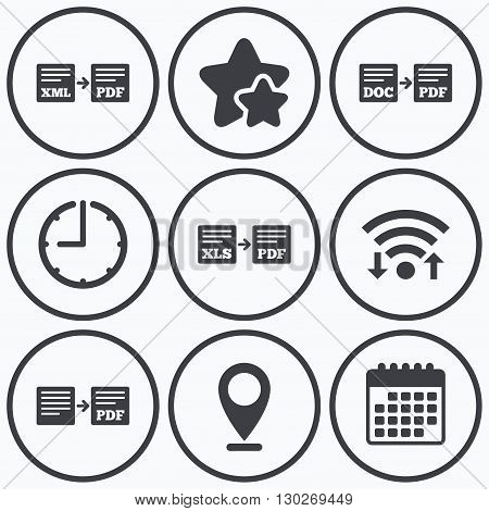 Clock, wifi and stars icons. Export file icons. Convert DOC to PDF, XML to PDF symbols. XLS to PDF with arrow sign. Calendar symbol. poster