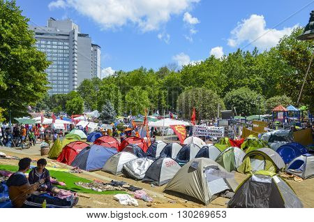 Istanbul Turkey - June 9 2013: A wave of demonstrations and civil unrest in Turkey began on 28 May 2013 initially to contest the urban development plan for Istanbul's Taksim Gezi Park. The protests were sparked by outrage at the violent eviction of a sit-