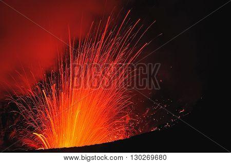 The Eruption Of The Volcano. Tafea, Vanuatu
