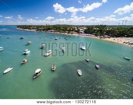 Aerial view of Praia do Forte in Bahia, Brazil