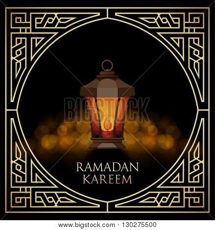 Ramadan Kareem greeting card with ligh lantern on bokeh background. Vector Illustration.
