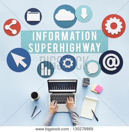 Information Superhighway Online Network Connect Concept