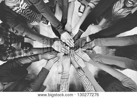 Group of Diverse Hands Together Joining Concept poster