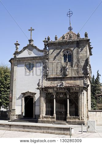 The Church of Sao Joao do Souto on the left and the Chapel of the Coimbras on the right in Braga Portugal
