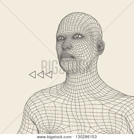 Head of the Person from a 3d Grid. Human Head Wire Model. Human Polygon Head. Face Scanning. View of Human Head.