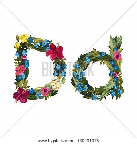 D letter. Flower capital alphabet. Colorful font. Uppercase and lowercase. Vector illustration. Grotesque style. Floral alphabet.