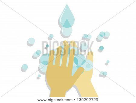 hygiene. Washing of hands, hands, soap bubbles and drops of blue water