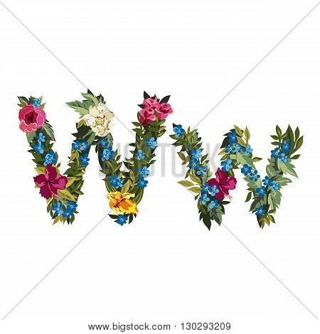 W letter. Flower capital alphabet. Colorful font. Uppercase and lowercase. Vector illustration. Grotesque style. Floral alphabet.
