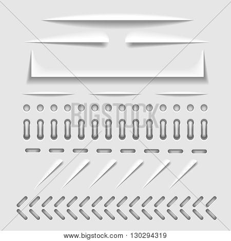 Paper cut, stitch and perforation web dividers with shadow effect vector template. Border stitch hole and binder collection stitch for paper cut illustration