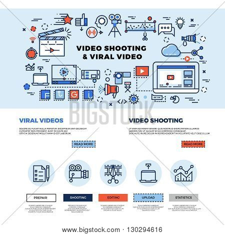 Viral video marketing, movie film-making, professional TV production vector web site design. Video technology making and promotion. Concept internet video multimedia business illustration poster