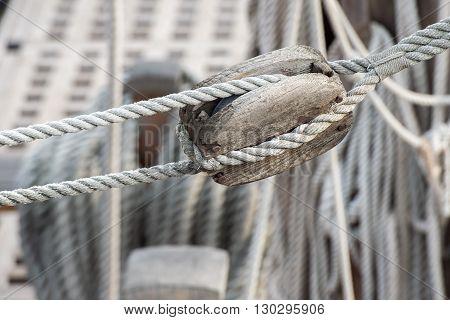Sail Ship Shrouds And Ropes