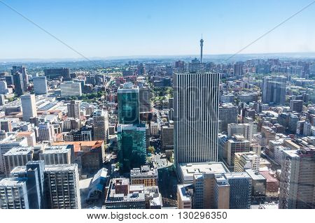 Johannesburg, South Africa 28 March 2016 The Johannesburg city skyline and the outlaying suburbs
