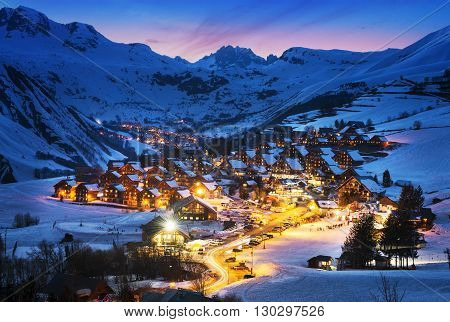 Evening landscape and ski resort in French AlpsSaint jean d'Arves France