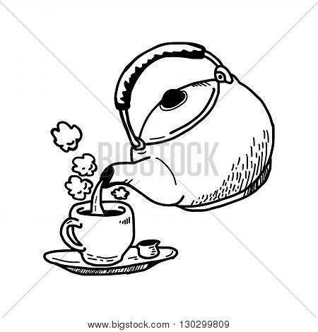 illustration vector hand drawn doodle of act of pouring a hot tea into a cup