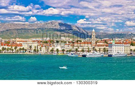 Split Riva waterfront view from sea Dalmatia Croatia poster