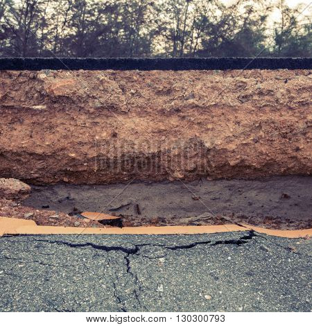 Crack of asphalt road after the storm
