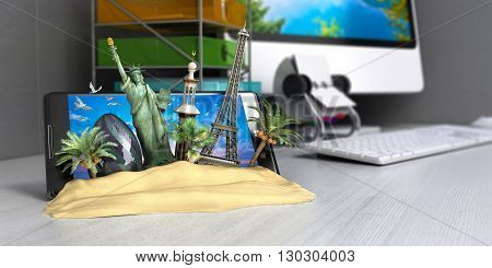 VT concept of travel landmarks look out for the sand the phone screen on worck table online ordering vouchers beautiful background for Camping & Outdoor theme 3d render