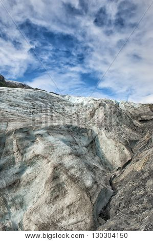 Mendenhall Glacier On Sunny Cloudy Sky