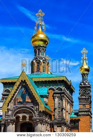 Saint Mary Magdalene Russian Orthodox Church (built 1897 - 1899), close to the Five-Finger-Tower in Darmstadt, Hesse, Germany poster