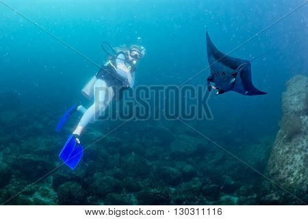 Beautiful blonde woman diving with manta in the deep blue sea