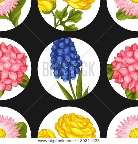Seamless pattern with garden flowers. Decorative hortense, ranunculus, muscari and marguerite. Easy to use for backdrop, textile, wrapping paper, wallpaper.