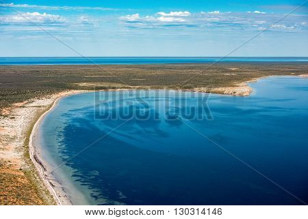 Blue Ocean Aerial View In Shark Bay Australia