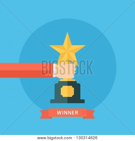 Male hand holding star award. Winner trophy award. First place. Gold star award. Flat vector illustration.