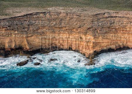 Steep Point Blue Ocean Aerial View In Shark Bay Australia