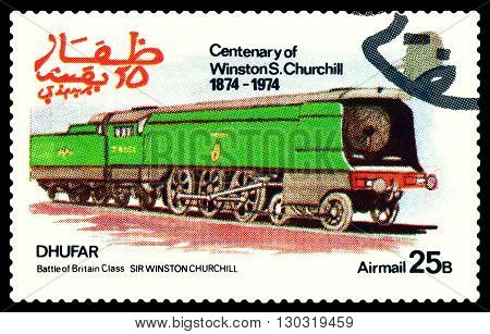 STAVROPOL RUSSIA - MARCH 30 2016: A Stamp printed in the Dhufar shows Old steam locomotive Battle of Britain Class Sir Winston Churchill stamp devoted to the Centenary of Winston S. Churchill circa 1974