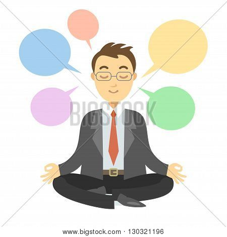 Businessman thinking during meditation. Businessman doing yoga meditation or relaxing choose right decisions. Vector cartoon illustration