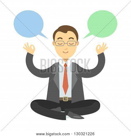 Businessman thinking during meditation. Businessman doing yoga meditation or relaxing choose right decisions. Vector cartoon illustration