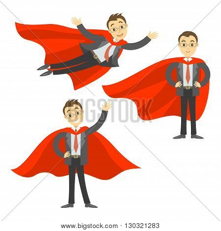 Set of superhero businessman in red cape. Concept of success leadership and victory in business. Vector illustration