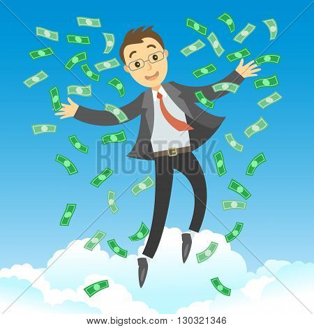 Happy rich successful businessman jumping in the air with green money bills. Businessman rejoicing for his success with dollars banknotes flying in the air. Business success concept vector cartoon illustration