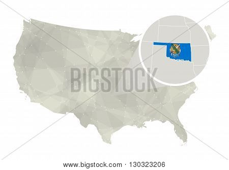 Polygonal Abstract Usa Map With Magnified Oklahoma State.