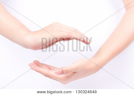 finger hand symbols isolated concept join two cupped hands and may the force be with you on white background