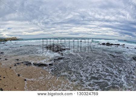 Kona Harbor Sea Waves In Big Island