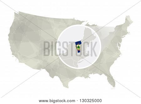 Polygonal Abstract Usa Map With Magnified Vermont State.