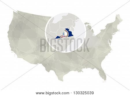Polygonal Abstract Usa Map With Magnified Virginia State.