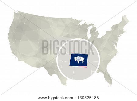 Polygonal Abstract Usa Map With Magnified Wyoming State.