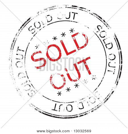 sold out grunge stamp vector illustration