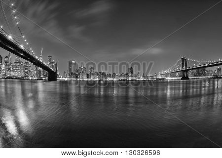 New York Manhattan Bridge Night View From Brooklyn In B&w