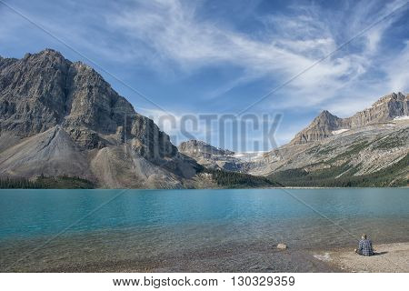 Canada Bow Lake Icefield highwayl andscape  panorma