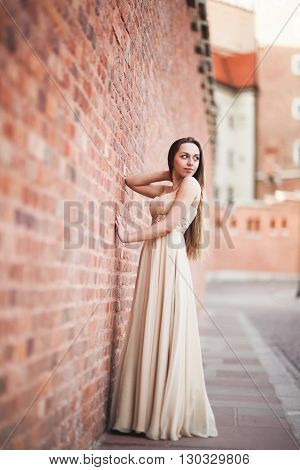 Beautiful sexy girl with long hair long dress perfect shape tanned body possing near wall.