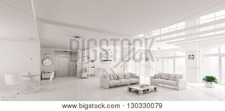 White Lof Interior 3D Rendering