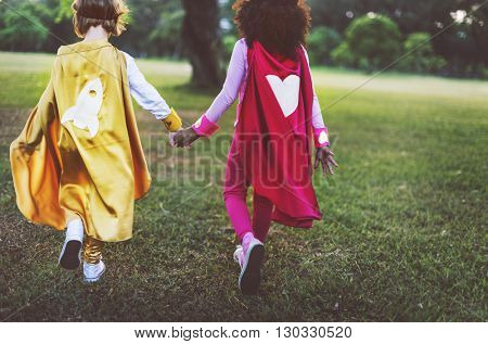 Superhero Girls Friendship Cute Happiness Fun Playful Concept