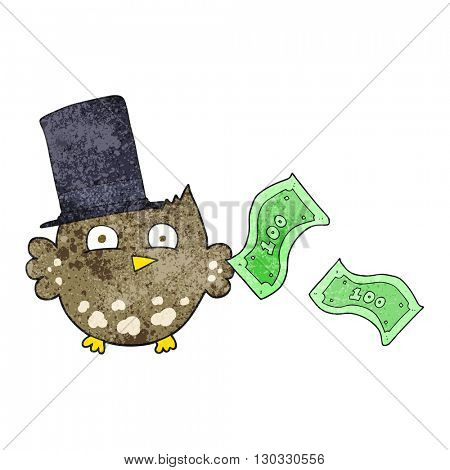 freehand textured cartoon wealthy little owl with top hat