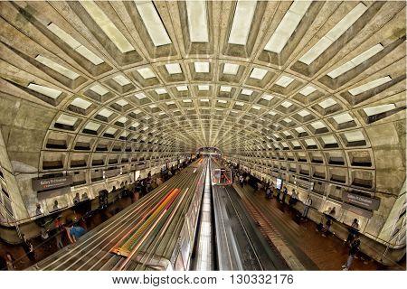 WASHINGTON DC - USA - 3 MAY 2013 People waiting for train at Chinitown Metro station