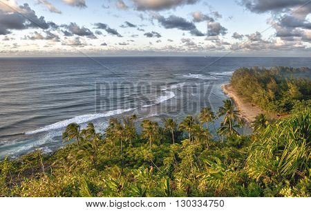 Golden Sunset At Kalalau Trail Kauai Island Hawaii