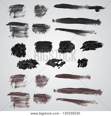 Vector set of grunge broad brush strokes. Black collection of black vector oil paint brush strokes isolated on white background. Paint brush strokes.