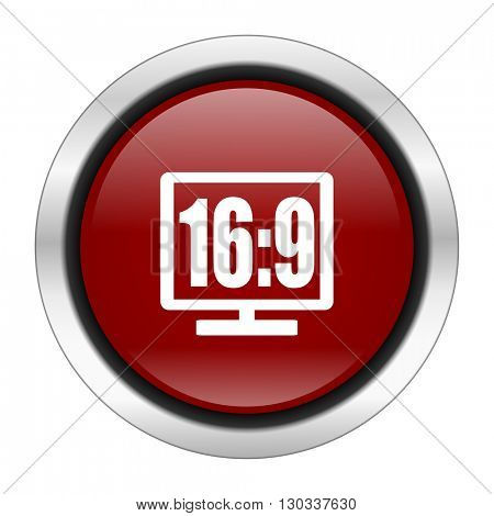 16 9 display icon, red round button isolated on white background, web design illustration
